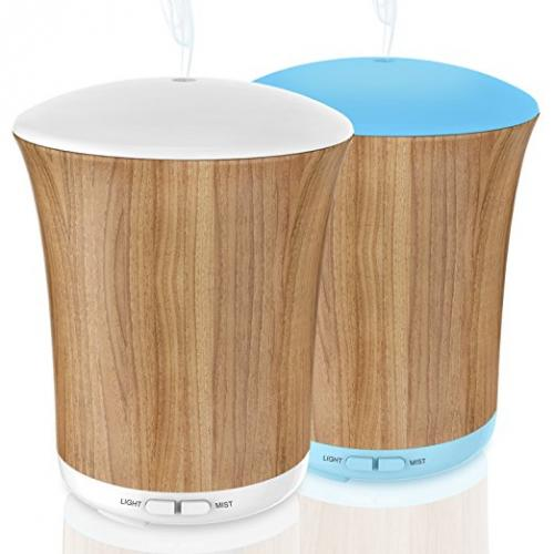 ZOOKKI Aroma Essential Oil Diffuser Ultrasonic Cool Mist Whisper-Quiet Humidifier, 8 Color LED Lights & 4 Timer Settings Waterless Auto Shut-Off for Office Room Yoga Spa 200ML Wood Grain 2Pack