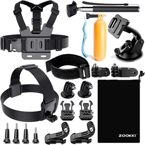 Zookki Accessories Kit for GoPro 6 Hero 5 Session 4 Silver 3 Black SJ4000/SJ5000/SJ6 LEGEND/SJ7 Action Camera Accessories for Xiaomi Yi 4K/WiMiUS/Lightdow/DBPOWER